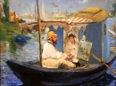 Monet Painting in His Studio Boat puzzle on TheJigsawPuzzles.com