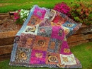 Batik Compass Quilt among Flowers