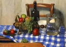 Still Life with Blue Checkered Tablecloth