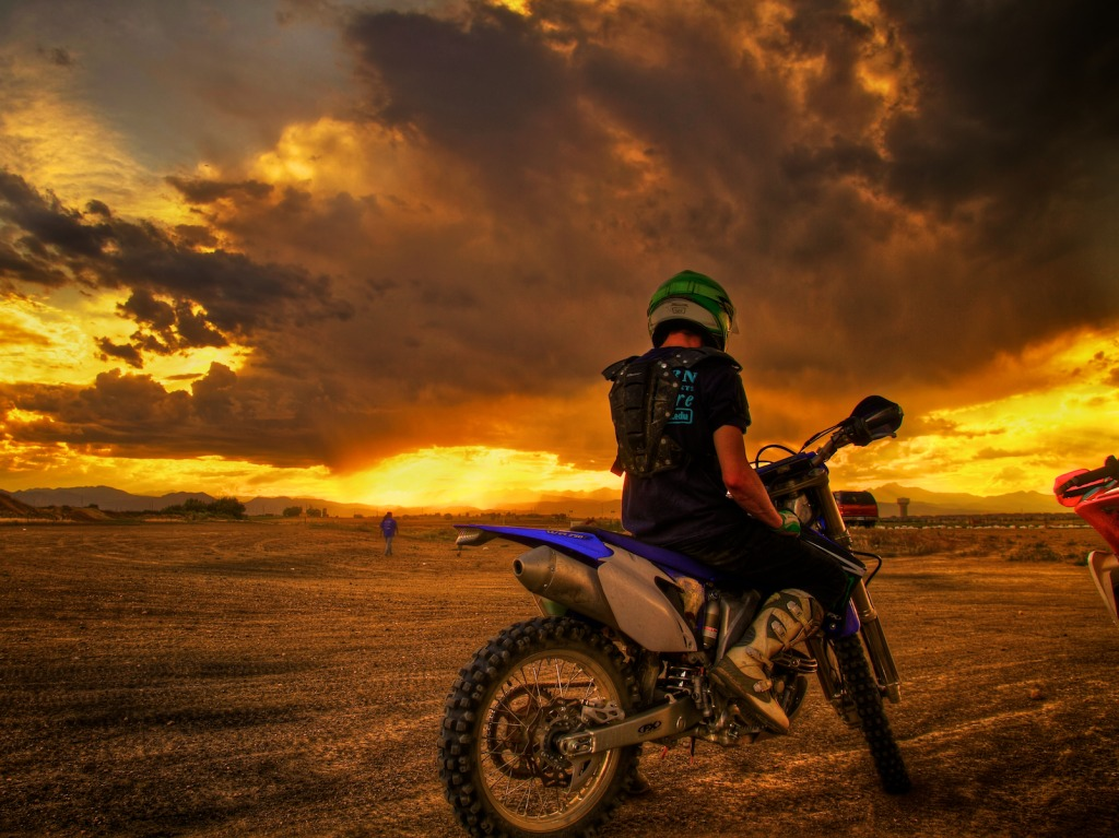 Sunset Watching On A Dirt Bike Jigsaw Puzzle In People