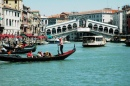 Gondola and the Rialto Bridge, Venice
