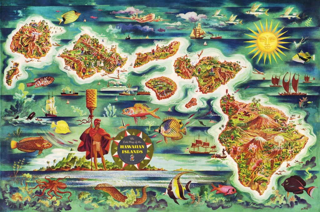 The Dole Map Of The Hawaiian Islands Jigsaw Puzzle In