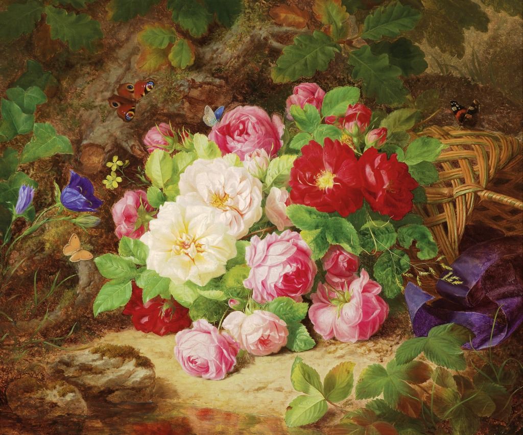 Flower Baskets Crossword Clue : Still life with roses jigsaw puzzle in flowers puzzles on