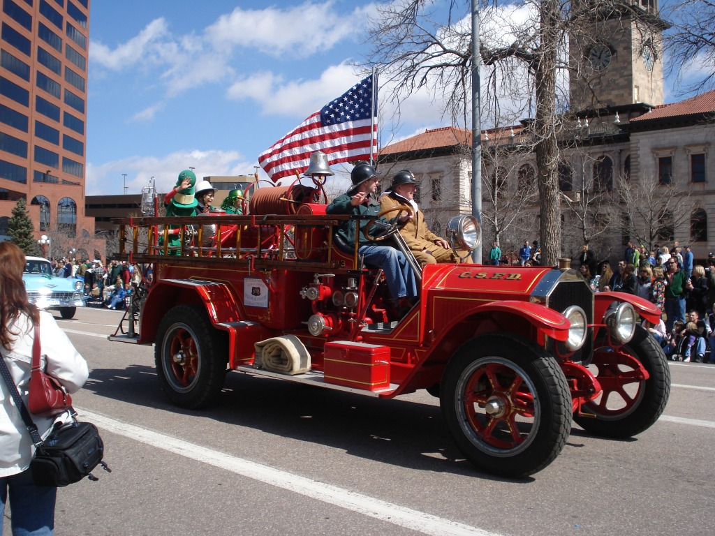 Fire Engine On Parade In Colorado Springs Jigsaw Puzzle In