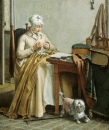 Interior with Sewing Woman