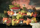 Still Life with Fruit and Sunset Landscape