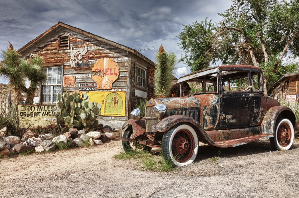 Route 66 Hackberry Arizona Jigsaw Puzzle In Cars