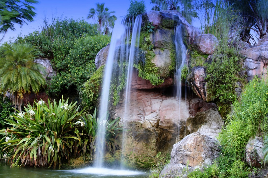 Waterfall In Monroe Florida Jigsaw Puzzle In Waterfalls