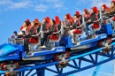People on the Blue Fire Rollercoaster