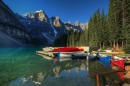 Canoes on Lake Moraine, Alberta,Canada