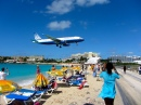 United Airlines Plane over Maho Beach