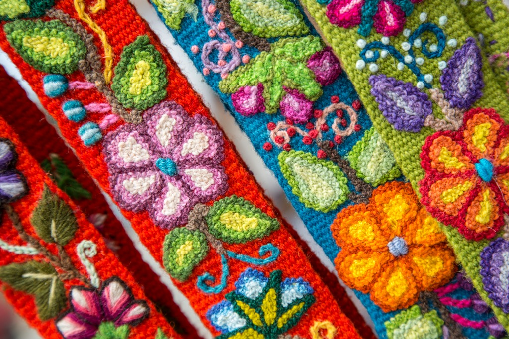 Peruvian Embroided Flowers Jigsaw Puzzle In Handmade