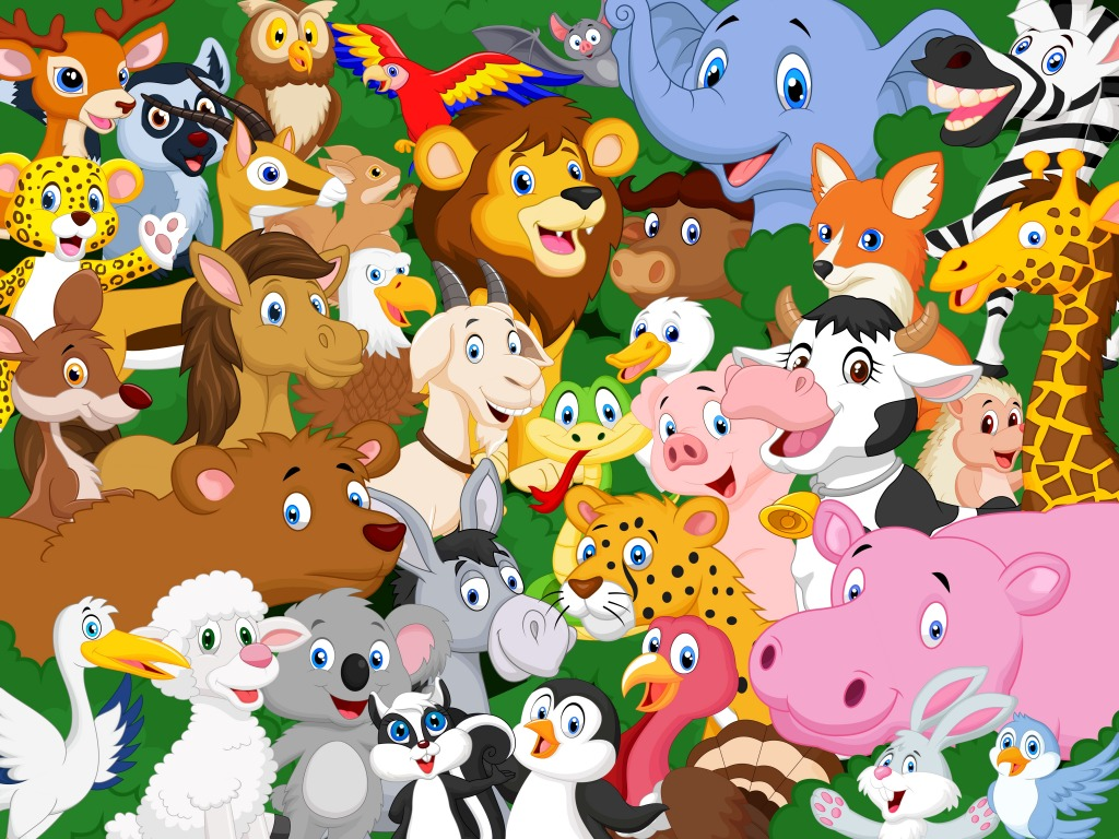 cartoon animals animal background puzzle farm wild jigsaw jungle vector donkey african cute puzzles wildlife thejigsawpuzzles collection waving bee royalty