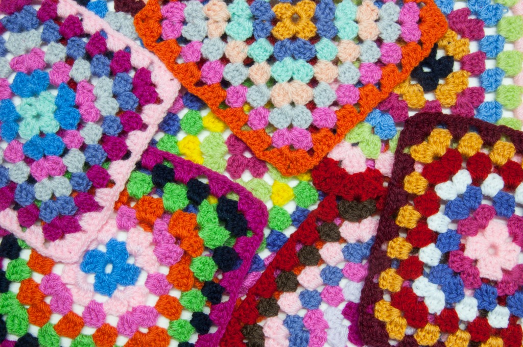 Links To More Than 10 000 Crochet Patterns And Pieces: Scattered Granny Squares Jigsaw Puzzle In Handmade Puzzles