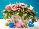 Basket of Flowers and Easter Eggs