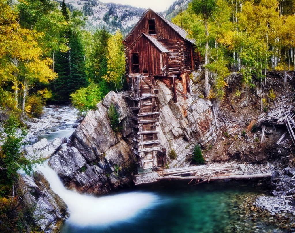 Crystal mill at fall jigsaw puzzle in waterfalls puzzles for Crystal fall
