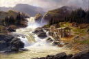Norwegian Waterfall with Sawmill