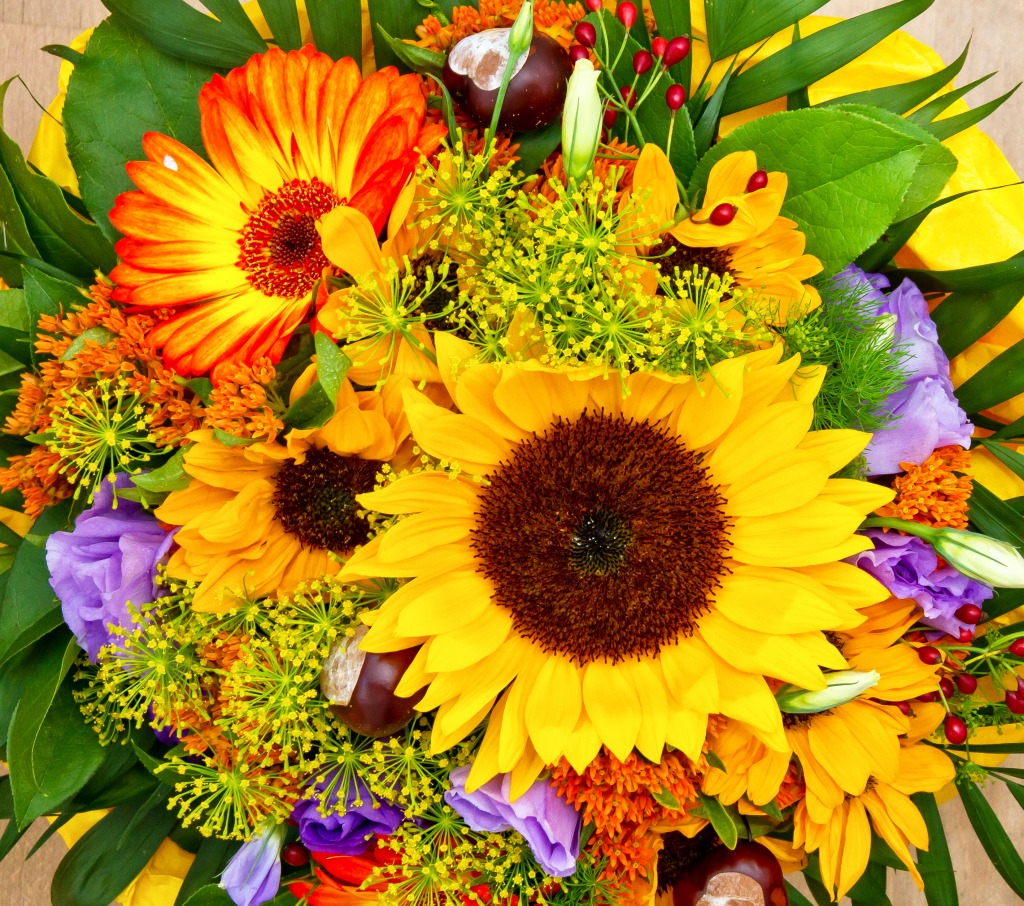 Colorful flower bouquet jigsaw puzzle in flowers puzzles for Japanese flower arranging crossword clue