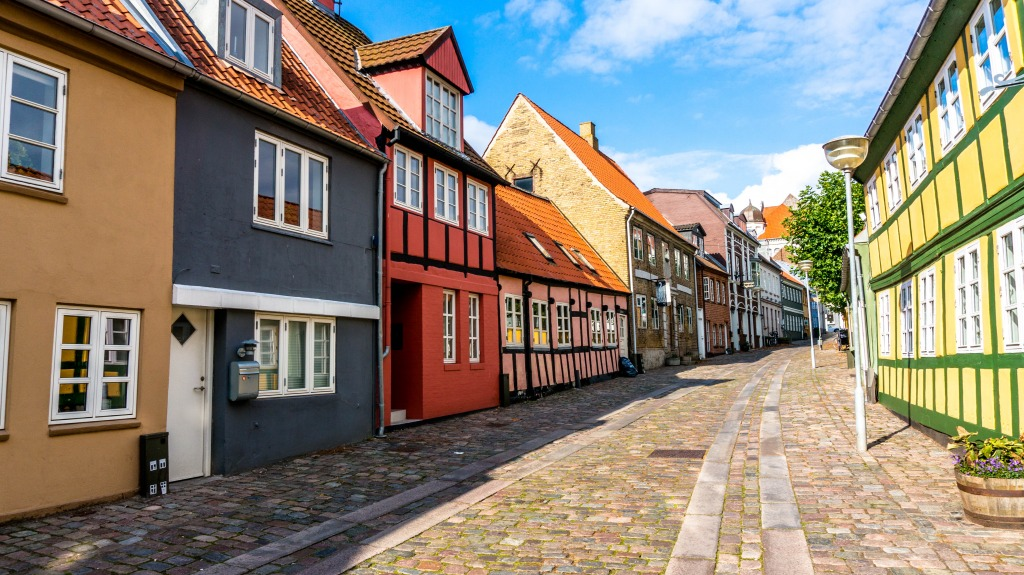 Old Street in Horsens, Denmark jigsaw puzzle in Puzzle of ...