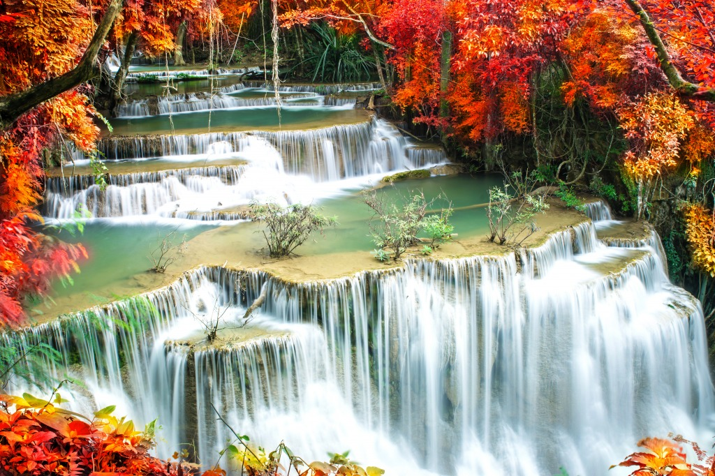 Waterfalls Deep Forests Beautiful Forest Waterfall At Erawan National Park Kanjanaburi Thailand Stock Fooe Blocks
