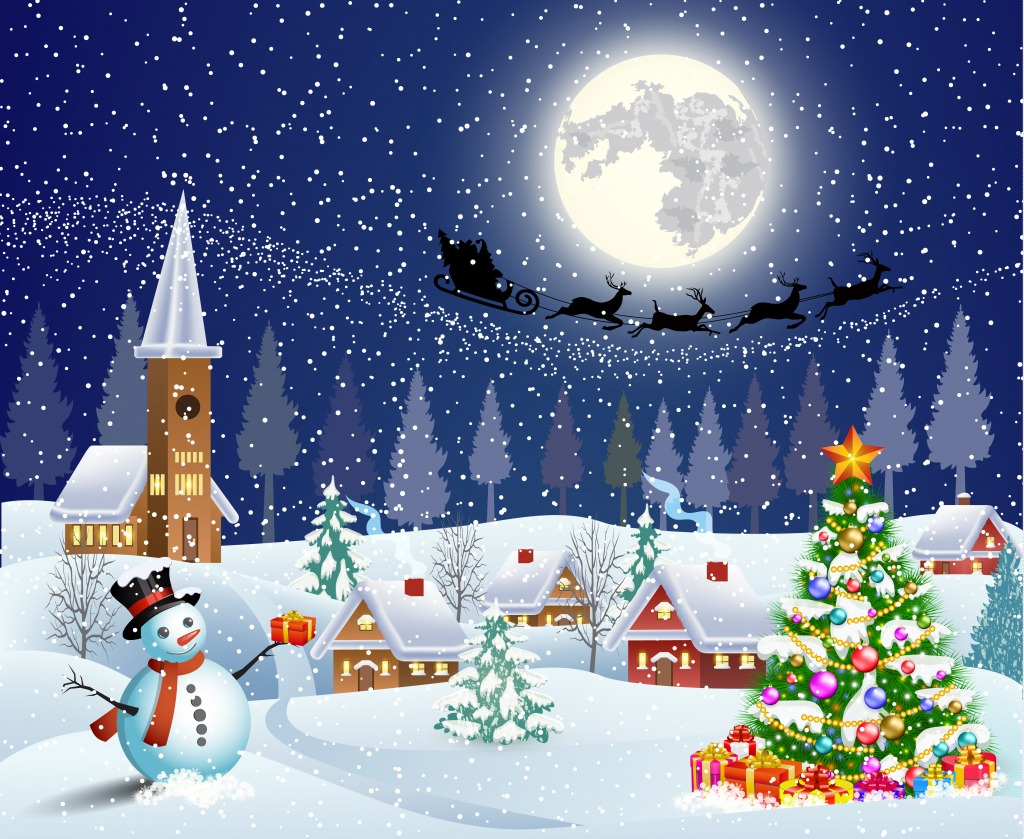 Merry christmas jigsaw puzzle in puzzle of the day for Christmas landscape images