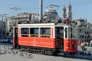 Red Tram in Istanbul, Turkey