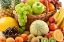 Assorted Fruits in Wicker Basket