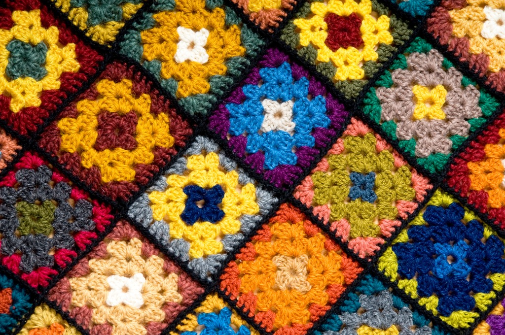 Jigsaw Blanket Knitting Pattern : Baby Blanket of Granny Squares jigsaw puzzle in Handmade puzzles on TheJigsaw...