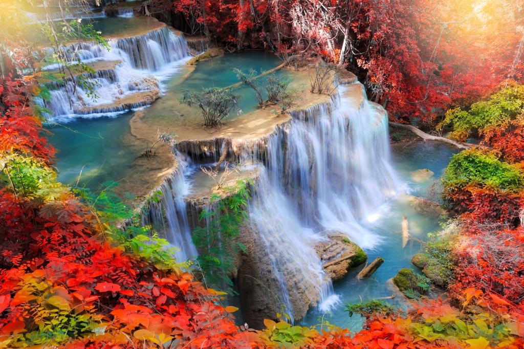 Huay Mae Kamin Waterfall Thailand Jigsaw Puzzle In