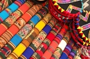 Colorful Fabrics at the Peruvian Market