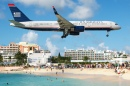 US Airways Boeing 757 Landing in Saint Martin