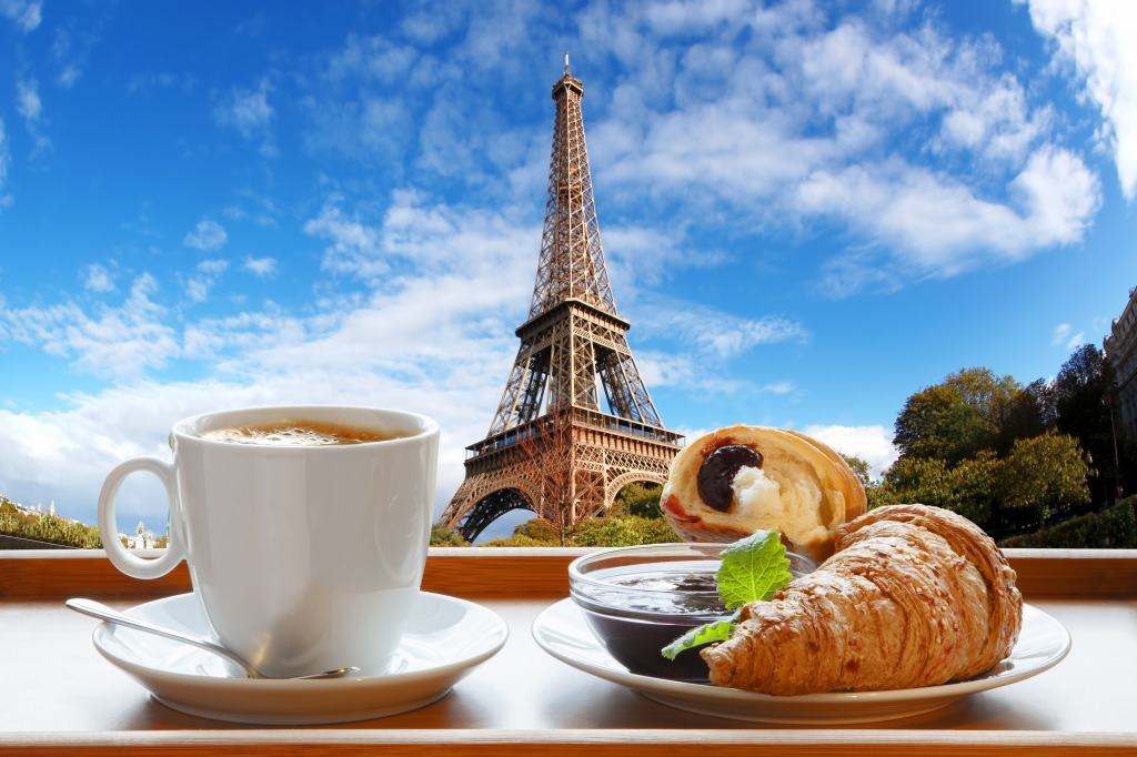 Coffee With Croissants In Paris Jigsaw Puzzle In Puzzle Of