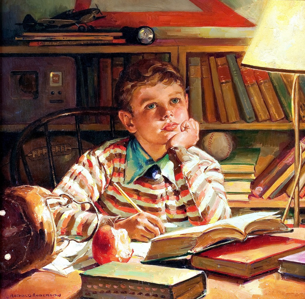 Young Boy Studying jigsaw puzzle in Piece of Art puzzles