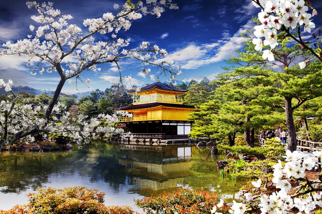 Golden Temple In The Japanese Garden Jigsaw Puzzle In Great