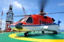 Helicopter on the Oil Rig Platform
