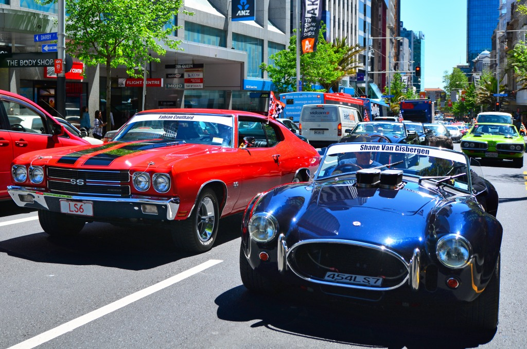Us Muscle Cars In Auckland New Zealand Jigsaw Puzzle In Cars