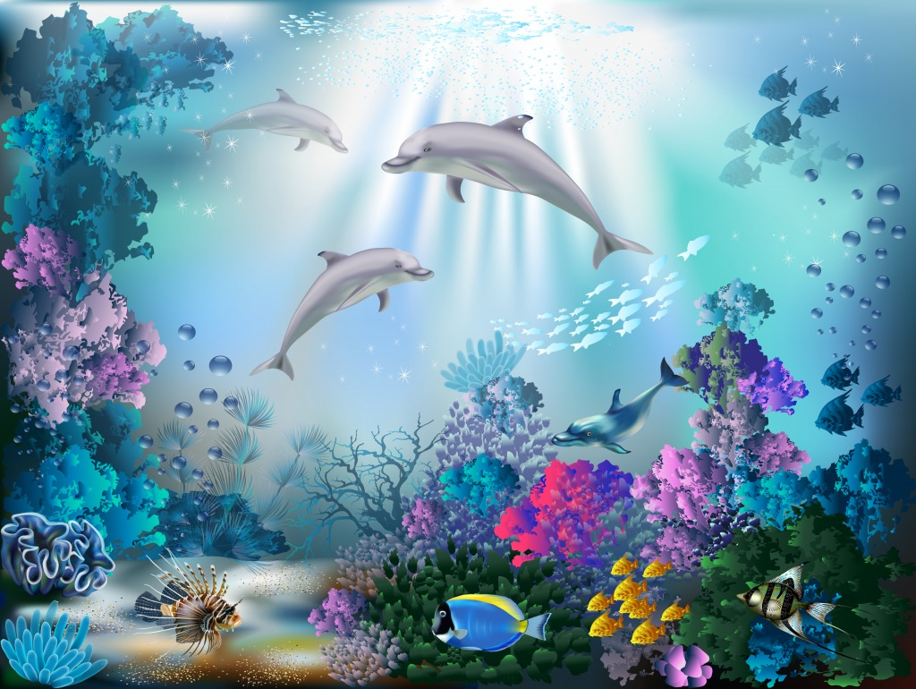 The Underwater World with Dolphins jigsaw puzzle in Under ...