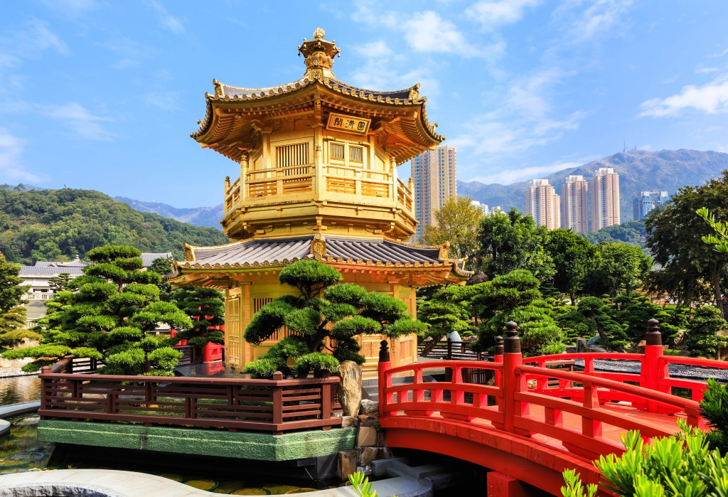 Nan lian garden hong kong china jigsaw puzzle in bridges puzzles on for Garden pavilion crossword clue