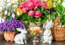 Easter Flowers, Eggs and Bunnies