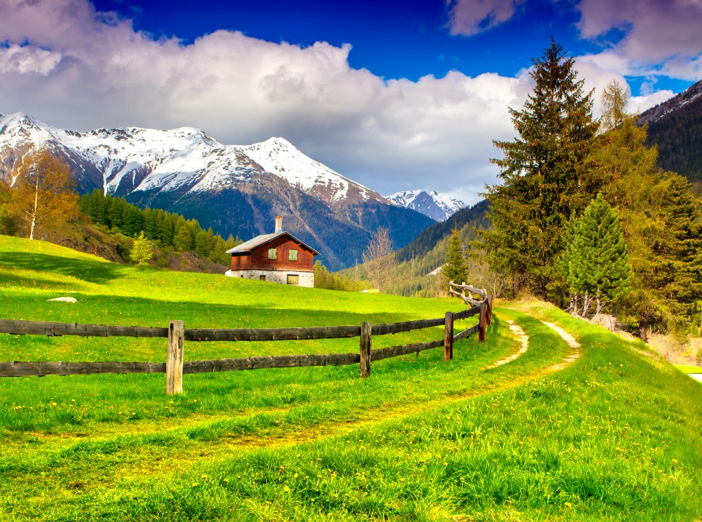 Spring Landscape In The Swiss Alps Jigsaw Puzzle In Puzzle