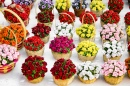 Colorful Flowers In Baskets