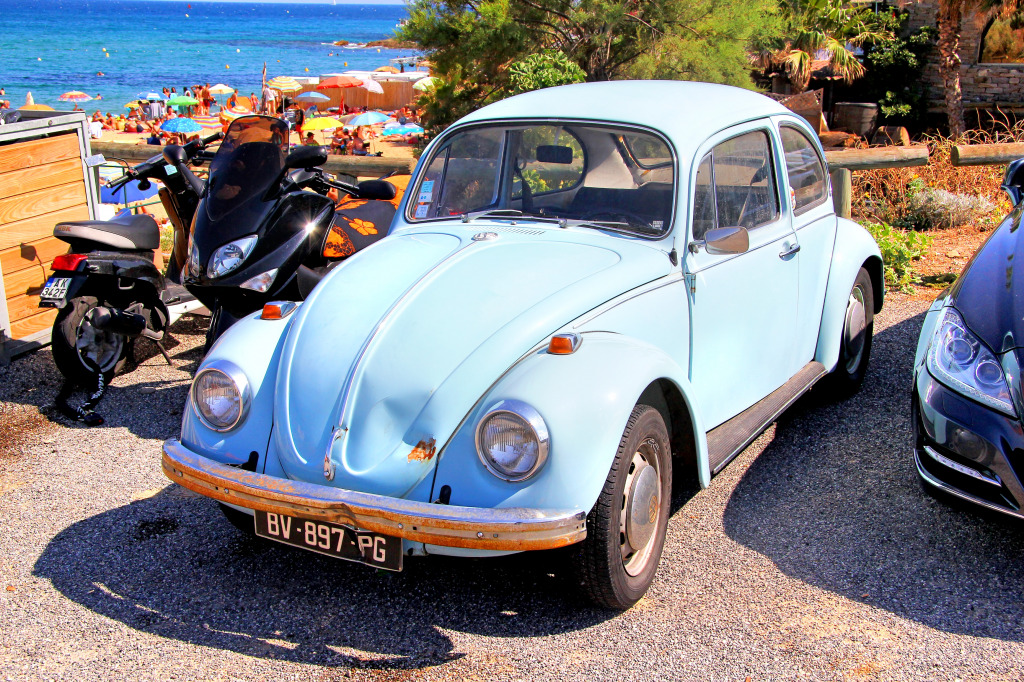 volkswagen beetle   french riviera jigsaw puzzle  cars bikes puzzles