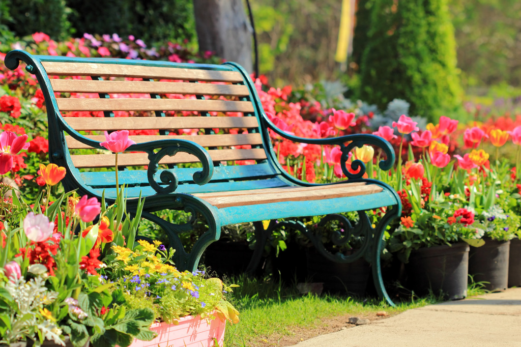 Vintage Bench In Tulip Garden Jigsaw Puzzle In Puzzle Of