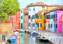 Colorful Houses at the Island of Burano