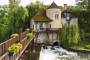 Picturesque Waterfall in Moret-Sur-Loing, France