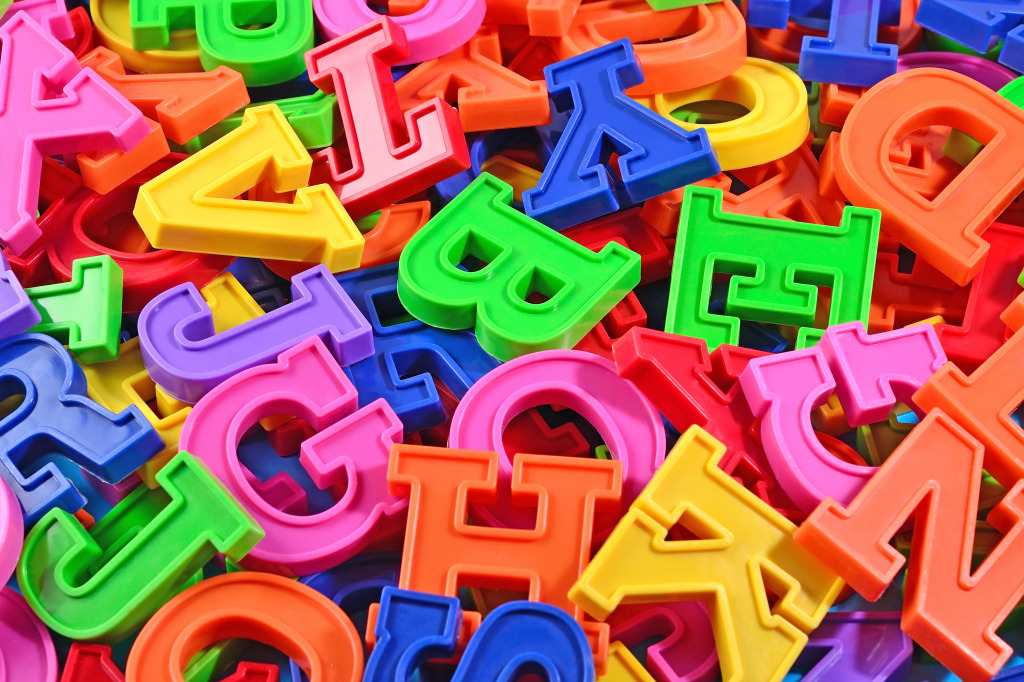 Plastic Alphabet Letters Jigsaw Puzzle In Macro Puzzles On