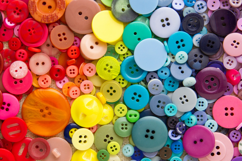 Links To More Than 10 000 Crochet Patterns And Pieces: Mixed Bright Buttons Jigsaw Puzzle In Handmade Puzzles On