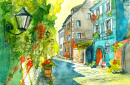 Summer Street Watercolor
