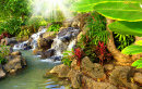 Small Tropical Waterfall