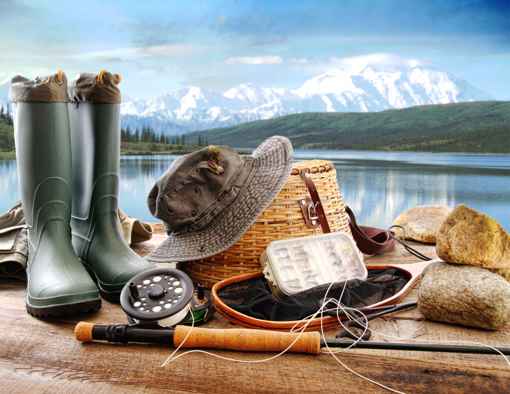 Fishing on a mountain lake jigsaw puzzle in puzzle of the for Fly fishing equipment